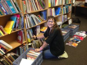 Annie Folk at the Language Centre bookshop