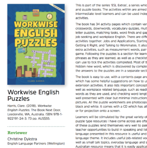 From the TESOLANZ review of Workwise English Puzzles