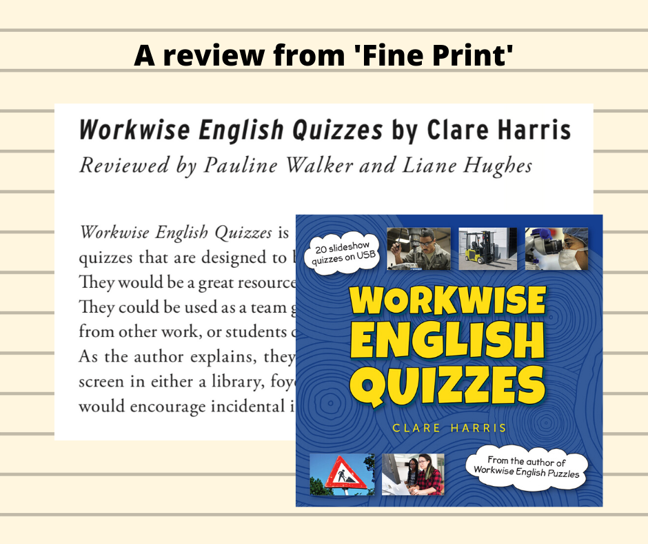 Shows the cover of Workwise English Quizzes and the Fine Print Review