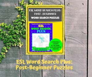 Teachers Pay Teachers printable version of ESL Word Search Plus: Post-Beginner